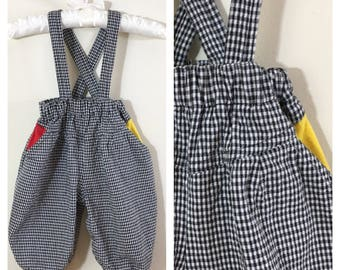 80s Baby Boy Black and White Plaid Overalls with Primary Color Pop, Baby Boy Size 6 to 9 months