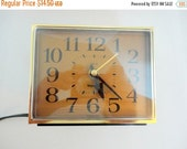SALE Vintage WESTCLOX Alarm- Electric Alarm clock-  1970s - Gold face Wood grain case - Snooze bar
