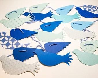 10 foot Bird garland - blue Birds garland - blue Doves - Christening - Baptism - baby boy shower - boy nursery decoration - handmade