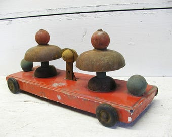 Vintage Tin Pull Toy Shabby Grungy Rusty Wooden Wheels
