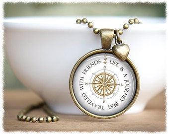 Best Friend Jewelry • Friendship Necklace • Long Distance Friend • Sister Gifts • Compass Necklace