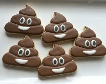 smiling poop emoji cookies