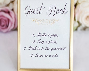Silver, Gold or White wedding sign - Guste book, Sweet table, Card box sign
