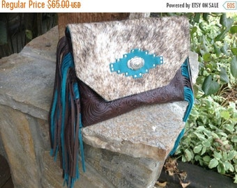 ON SALE Western hair in hide teal and chocolate fringe clutch