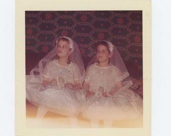 Vintage Snapshot Photo: Twins' First Communion, c1960s (73553)