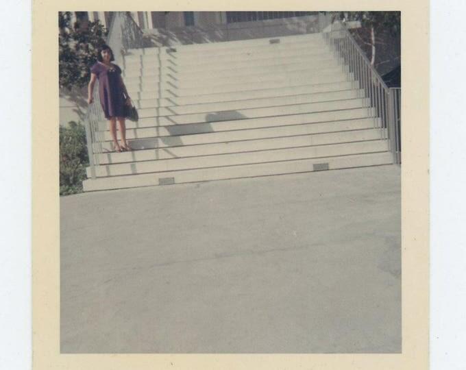 Vintage Snapshot Photo: Woman in Purple Dress, Steps, c1960s-70s (73555)