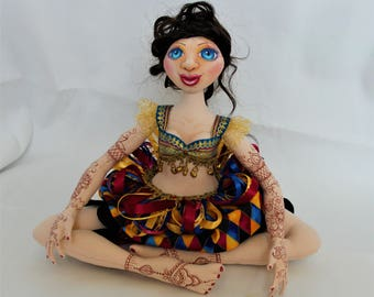 "Cloth Art Doll Henna Belly Dancer ""Zahirah"""