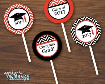 Red and Black Graduation Cupcake Toppers, Printable Grad Party Circles, Round Graduation Favor Labels, INSTANT DOWNLOAD, digital file
