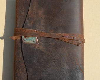 Distressed Pigskin Journal Bound Adventure Notebook Leather Watercolor Art Sketchbook Copper Turquoise Gift for Hunter Custom Order (642C)