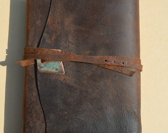 Distressed Pigskin Journal Bound Adventure Notebook Leather Watercolor Art Sketchbook Copper Turquoise Gift for Hunter Custom Order (642)
