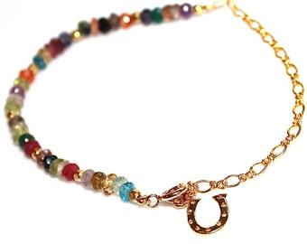 Lucky Charm Bracelet Multicolor Bracelet Gold Horseshoe Bracelet Charm Jewelry Lucky Bracelet Stack Bracelet FizzCandy Rainbow Bracelet