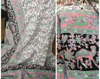 Vintage India Print Cotton Bedspread - Cotton Tapestry