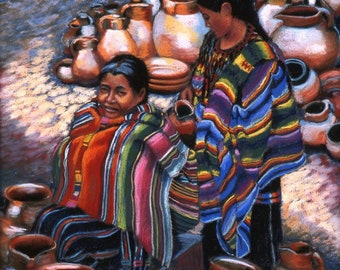 "Fine Art Giclee Print, Cantaros, Two Women, Indigenous, Guatemalan Women, Pastel Painting By Jan Maitland, Figures, Clay jugs, 8"" X 10"""