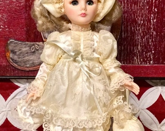 Vintage Effanbee Stamped 1988 Classic Blonde Doll with Stand, Made in New York, USA