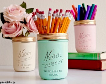 Dorm Decor / Office Decor / Pencil holder / Desk / Painted Mason Jars / Summer home decor / Mint Cream Pink / set of 3 wide mouth pints