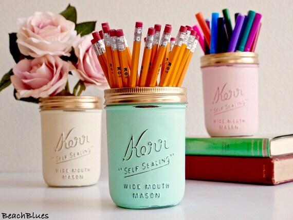 Dorm Decor / Office Decor / Pencil holder / Desk / Painted Mason Jars / Summer home decor / Mint Cream Pink / set of 3 wide mouth pints