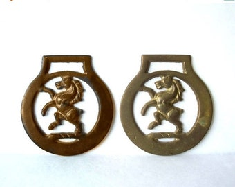 ON SALE Vintage Horse Brass Two, Pair