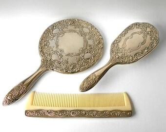 ON SALE Vintage Silver Vanity Set Mirror Brush Comb three pieces Photo Prop Staging Display