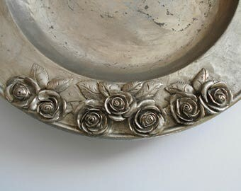 Vintage Pewter Plate with Roses SKS Zinn 95% Germany