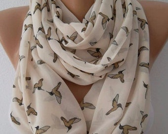 Christmas Gift Holiday Gift Scarf, Birds scarf Loop scarf chiffon scarf fashion accessories for her