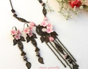 Sakura Jewelry Flower Jewelry Pink Jewelry Statement Jewelry Handmade Jewelry Flower Necklace Earrings Set Gift for Her Anniversary Gift