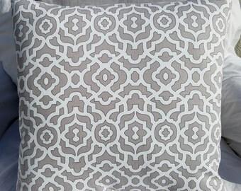 Grey & White Lattice Print Cotton Pillow Cover - Various Sizes!