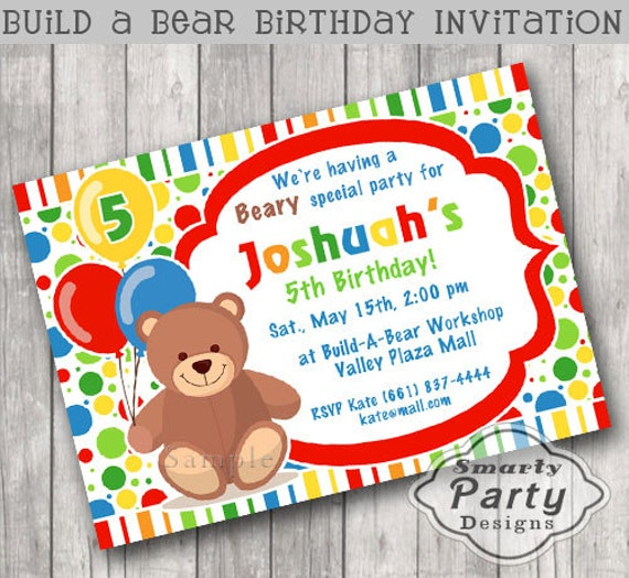 Build Bear Birthday Party Invitation Invite Printable – Build a Bear Invitations Birthday
