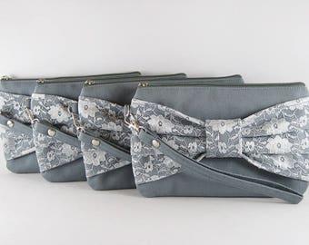 SALE - Gray Lace Bow Clutch / Bridal Clutch / Bridesmaids Clutch / Wedding Clutch | 9.90 USD per piece.