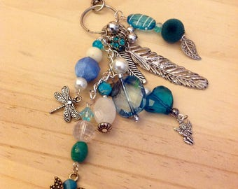 Journel & Bag Charm Beaded Cluster Dangle Feathers Teal