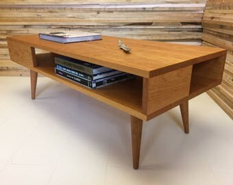 Thin Man mid century modern coffee table with storage, solid cherry in natural finish.