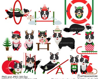Christmas border collie dog digital clip art for Personal and Commercial use - INSTANT DOWNLOAD