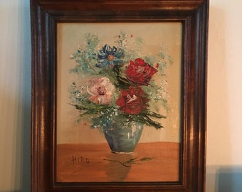 Beautiful Antique Vintage floral flower art artwork painting in a 11 1/2 x 10 inch wooden frame french european