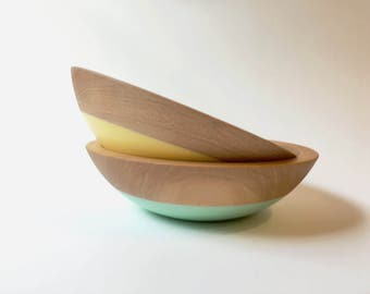 "Set of 2 Individual Serving Salad or Snack Bowl, Beech Wood, 7"" hardwood bowl, color dipped, blue wooden bowl by Willful"