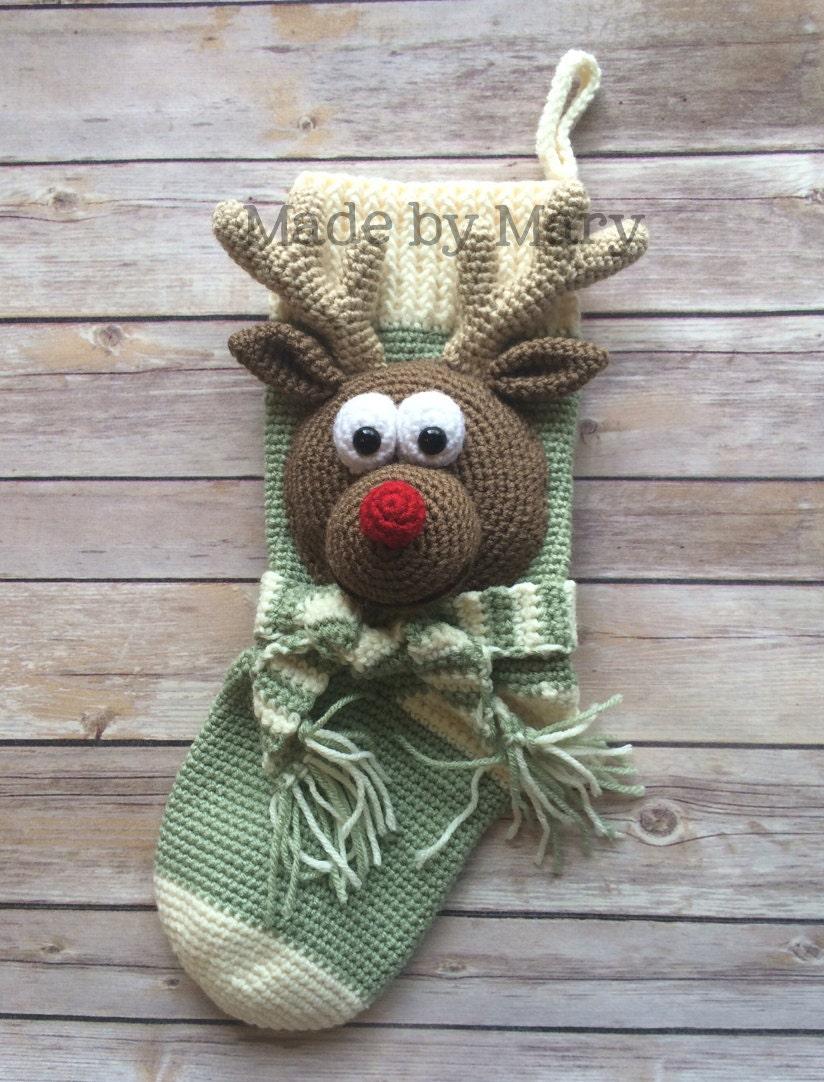 Pdf Pattern Rudolph Reindeer Stocking Crochet Pattern