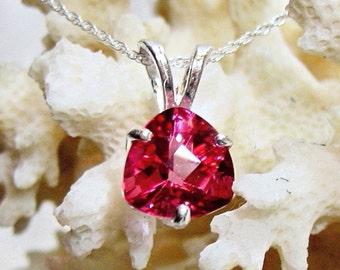 9mm Pink Topaz Pendant, Pink Trillion Pendant, Genuine Topaz Pendant 925 Sterling Silver