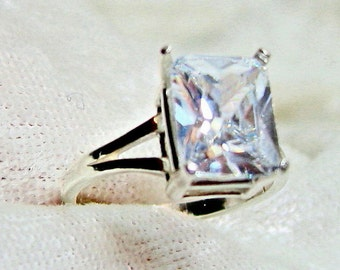 3ct Diamond Ring (Lab), Solitaire Diamond Ring (Lab), Cubic Zirconia Ring 10x8mm Solid 925 Sterling Silver Size 6.5