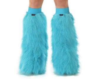 Turquoise Rave Fluffies - Fluffy Leg Warmers - Furry Boot Covers - Long Pile Faux Fur Turquoise Fluffies
