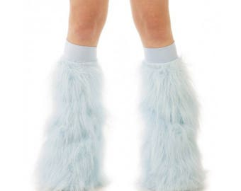 Baby Blue Rave Fluffies - Fluffy Leg Warmers - Furry Boot Covers - Long Pile Faux Fur Baby Blue Fluffies
