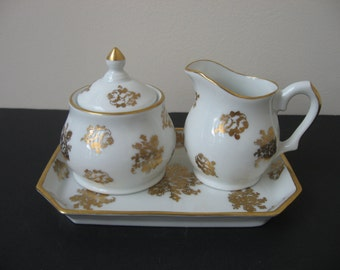 Vtg PORCELAINE DE FRANCE Hand Painted Sugar Bowl Creamer Tray Set White Gold