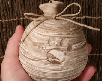 READY TO SHIP - Pottery Cremation Urn - Wheel Thrown Clay - Keepsake Cremains Jar For Family Member or Pet Ashes - Sack - Up to 7 lb