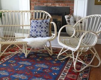 Vintage Pair Rattan Franco Albini Style Scoop Chair/ Settee /Sofa 1960's Boho Decor Cream Color Local Pickup