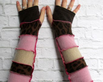 Recycled Clothing - Cashmere - Brown Pink - Arm Sleeves - Gypsy Arm Warmers - Upcycled Boho Chic - Hippie - Urban Clothing - Cute - Online