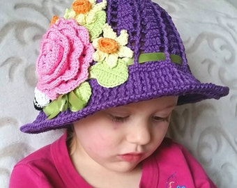 Crochet Cotton Cloche Sun Panama Hat Purple Baby Bonnet Hat with Roses, Daffodils, Bumble Bee, Ribbon, And Pearls