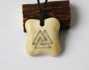 Valknut pendant, Valknut necklace, Norse pendant, Norse jewelry, Nordic pendant, Nordic jewelry, Viking jewelry, Viking pendant, Antler