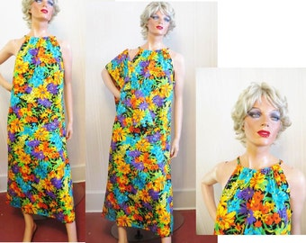Vintage 60s 70s Hawaiian Maxi Dress and Stole, Floral Tropical Print Barkcloth, Bright Colors, Sleeveless Halter Aloha Dress and Wrap