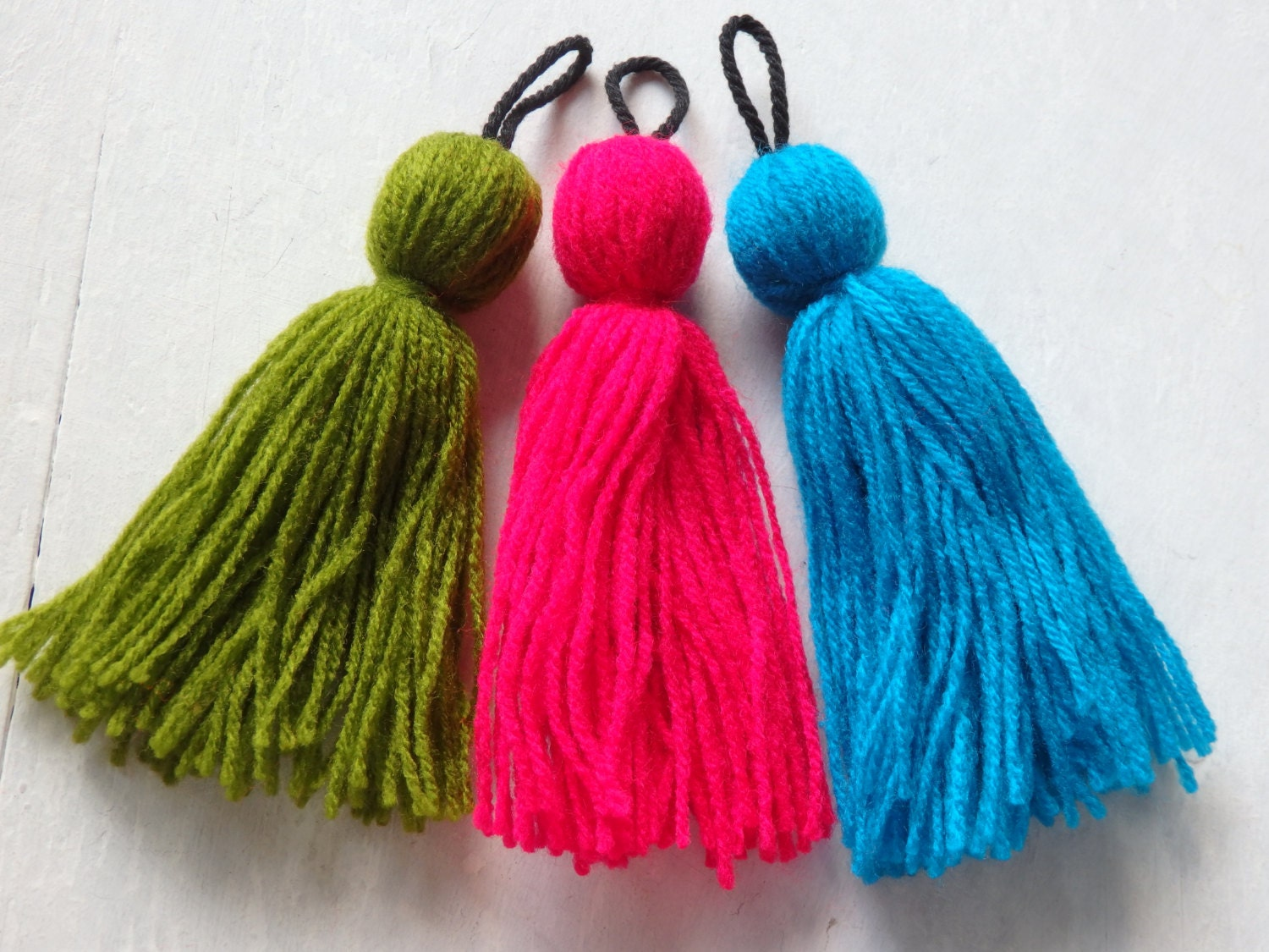 3 hmong wool tassels three large hmong hill tribe tassels from