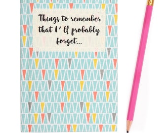 A6 Small Fabric Covered 'Things to Remember' Ruled Notebook - Geometric Green