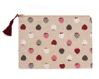 Linen Look Purse Pencil Case Make Up Bag Strawberries Natural