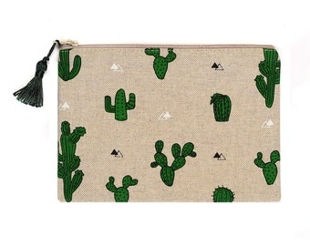 Linen Look Purse Pencil Case Make Up Bag Cactus Natural