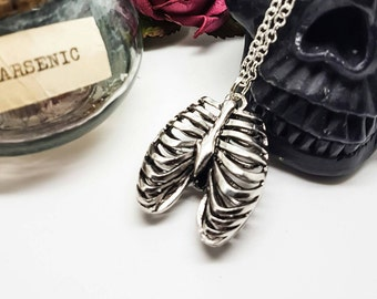 Anatomical necklace, anatomical jewellery, ribcage necklace, skeleton, skull, medical jewellery, body parts, Halloween